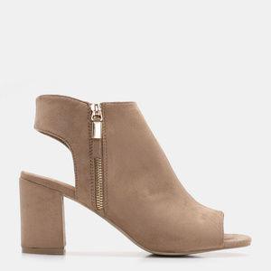 Faux Suede Peep Toe Sandals beige 9
